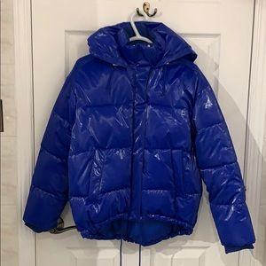 Blue Zara puffer winter jacket